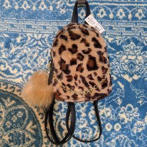 NWT Mini Faux Fur Backpack Leopard Print